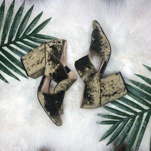 Cabi modern interlock velvet block heel in moss